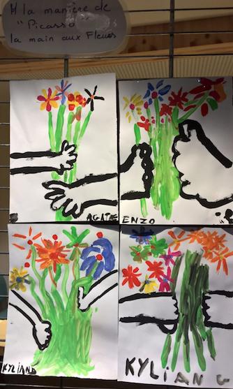 NAP Les CE2 peignent en s'inspirant des petites fleurs de Picasso