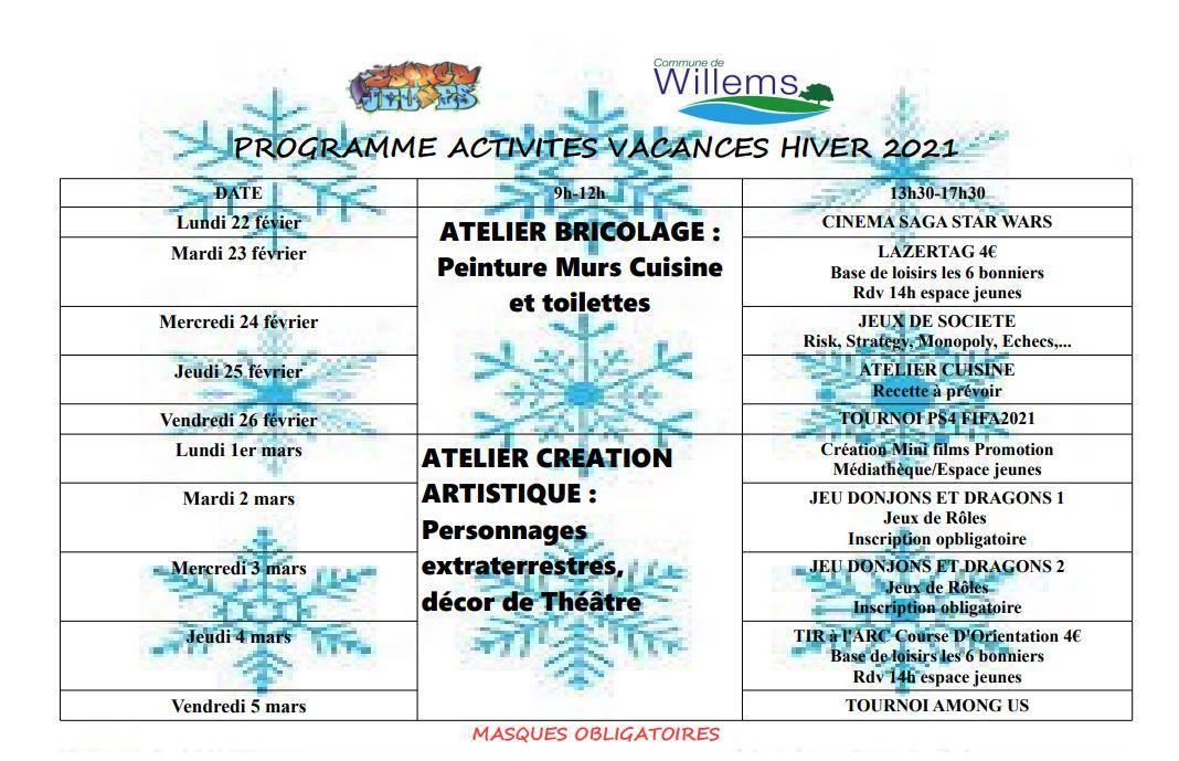 Programme vacances hiver 2021